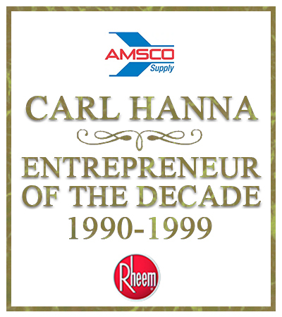 graphic image showing Carl Hanna winning Entrepreneur of the Decade in Kansas in 1999