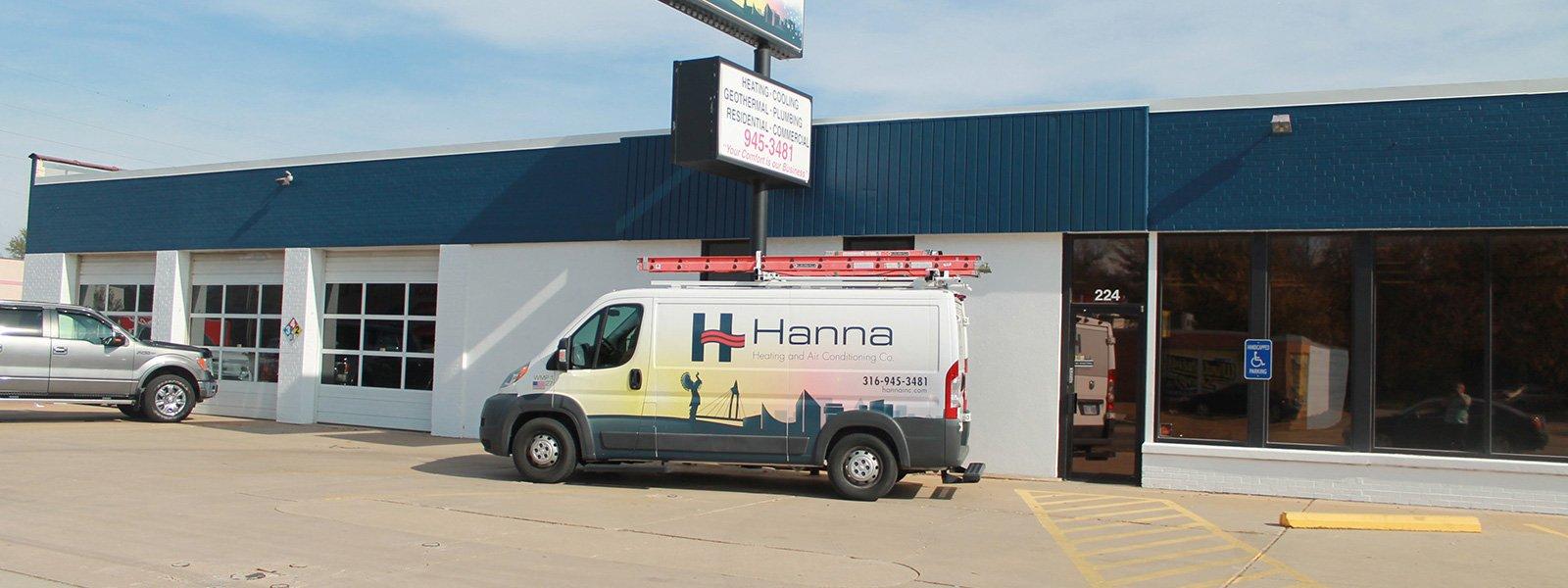 Hanna Heating & Air van in front of West Wichita shop