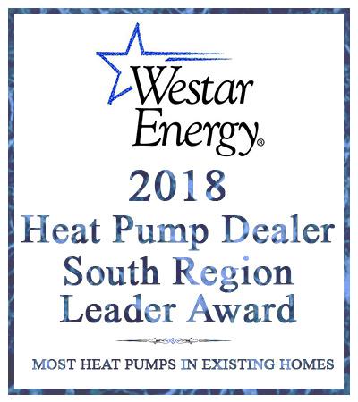 award for 2018 Heat Pump Dealer from Westar Energy