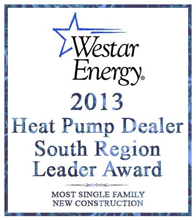 award for 2013 Heat Pump Dealer from Westar Energy