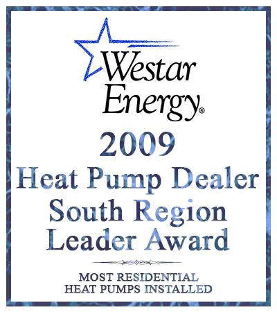 award for 2009 Heat Pump Dealer from Westar Energy