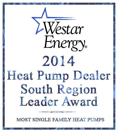award for 2014 Heat Pump Dealer from Westar Energy