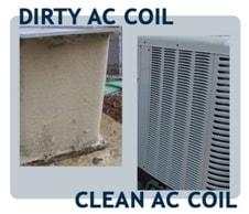 dirty & clean ac coil