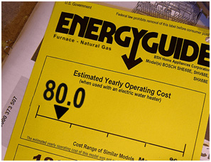 Sticker on furnace showing the AFUE energy rating