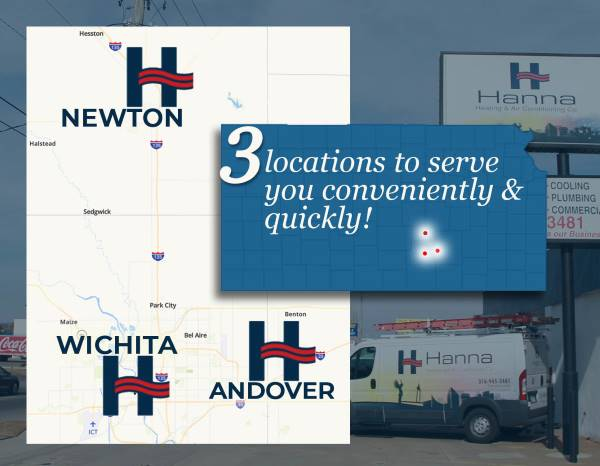 Kansas map showing Hanna locations in Wichita, Andover and Newton