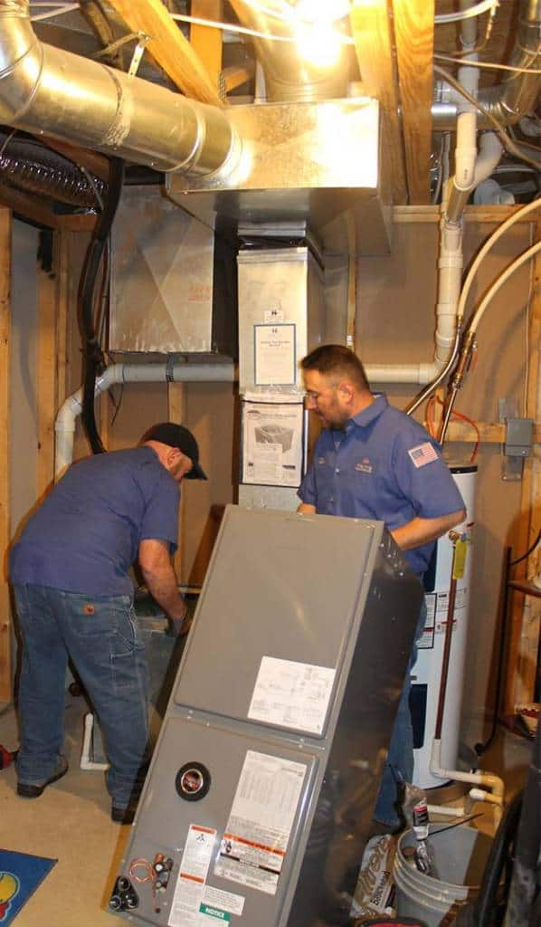 Hanna Heating technicians time to replace a furnace in a Wichita home