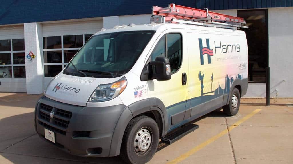 Hanna Heating & Air HVAC truck outside Wichita shop