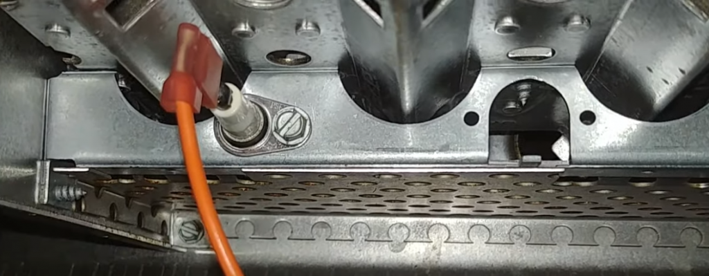 Flame sensor near burners inside a furnace