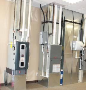 Gas furnaces on display in Hanna's Wichita HVAC shop location