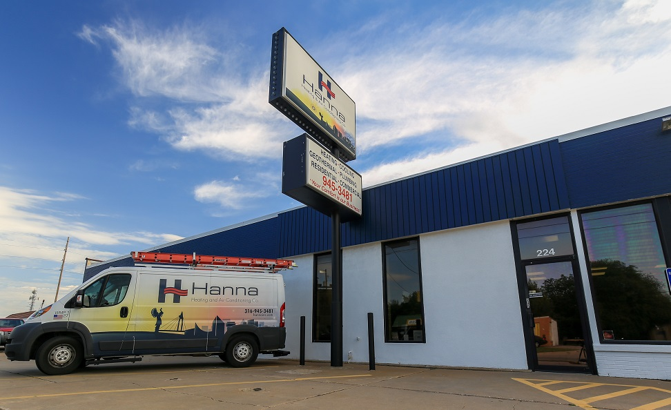 Hanna Heating & Air Conditioning van parked outside our Wichita, KS location